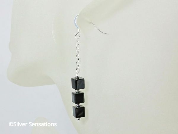 Hematite Cube Beads & Sterling Silver Chain Earrings | Silver Sensations